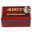 Team Logo wooden case 1984 San Francisco 49ers Super Bowl Championship Ring 10-13 size