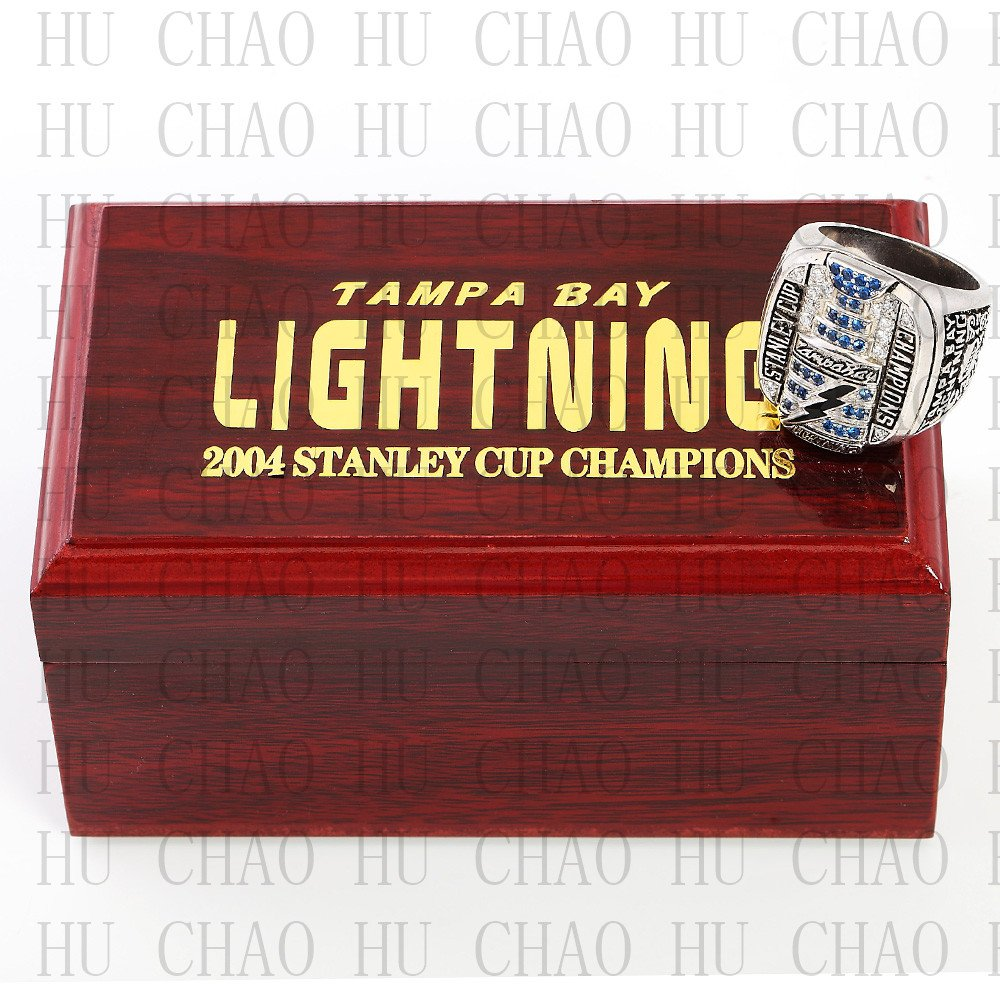 Team Logo wooden Case 2004 Tampa Bay LIGHTNING  Hockey Stanely Cup Championship Ring 10-13 Size