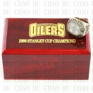 Team Logo wooden Case 1988 EDMONTON OILERS NHL Hockey Stanely Cup Championship Ring 10-13 size