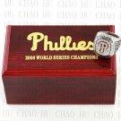 Team Logo wooden Case 2008 PHILADELPHIA PHILLIES world Series Championship Ring 10-13 size