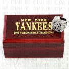Team Logo wooden Case 2009 New York Yankees world Series Championship Ring 10-13 size solid back
