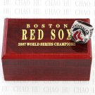Team Logo wooden Case 2007 Boston Red Sox world Series Championship Ring 10-13 size solid back
