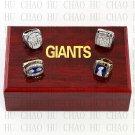 4PCS Sets 1986 1990 2007 2011 New York Giants Super Bowl Championship Ring 10-13 size Solia Back