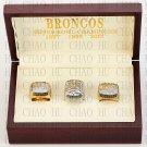 Team Logo wooden case 1997 1998 2015 Denver Broncos Super Bowl Championship Ring 10-13 size