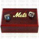 Team Logo wooden Case 2PCS Sets 1969 1986 New York Mets world Series Championship Ring 10-13 size