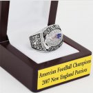 2007 New England Patriots AFC FOOTBALL Championship Ring 10-13 size with cherry wooden case