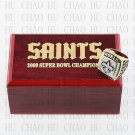 Team Logo wooden case 2009 New Orleans Saints Super Bowl Championship Ring 12 size solid back