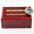 Team Logo wooden case 2013 Seattle Seahawks Super Bowl Championship Ring 12 size solid back
