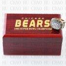 Team Logo wooden case 1985 Chicago Bears Super Bowl Championship Ring 10 size solid back