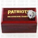 Team Logo wooden case 2004 New England Patriots Super Bowl Championship Ring 12size