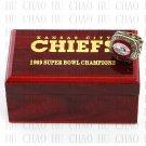 Team Logo wooden case 1969 Kansas City Chiefs Super Bowl Championship Ring 10-13 size
