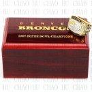 Team Logo wooden case 1997 Denver Broncos Super Bowl Championship Ring 12 size solid back