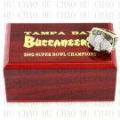 Team Logo wooden case 2002 Tampa Bay Bucaneers Super Bowl Championship Ring 10-13 size