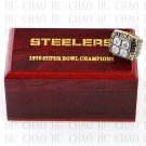 Team Logo wooden case 1979 Pittsburgh Steelers Super Bowl Championship Ring 10-13 size solid back