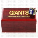 Team Logo wooden case 1986 New York Gaints Super Bowl Championship Ring 10-13 size solid back