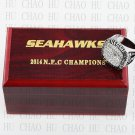 Team Logo wooden Case 2014 Seattle Seahawks NFC Football world Championship Ring 10-13 size