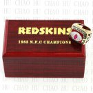 Team Logo wooden Case 1983 Washington Redskins NFC Football world Championship Ring 10-13 size