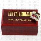 Team Logo wooden Case 1993 Buffalo Bills AFC Football world Championship Ring 10-13 size solid back