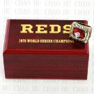 Team Logo wooden Case 1975 CINCINNATI REDS world Series Championship Ring 10-13 size solid back