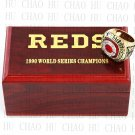 Team Logo wooden Case 1990 CINCINNATI REDS world Series Championship Ring 10-13 size solid back