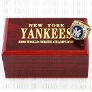 Team Logo wooden Case 1998 New York Yankees world Series Championship Ring 10-13 size solid back