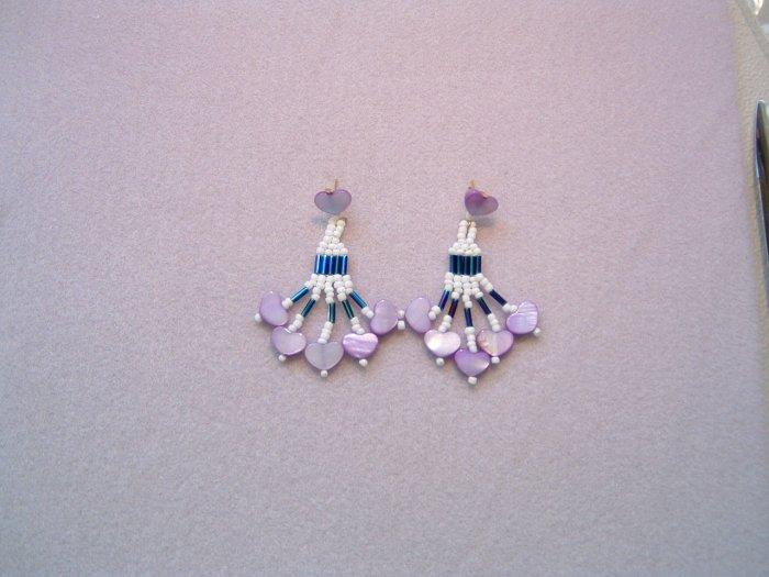 Beaded Dangle Earrings w/ Hearts - White-Blue-Lavender