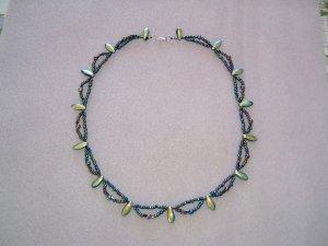 Beaded Black Iris Dagger Necklace