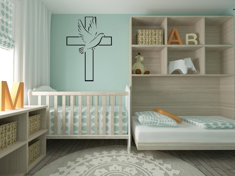 Christian Cross & Dove Wall Decal Art Family Home Decor Mural vinyl stickers DIY