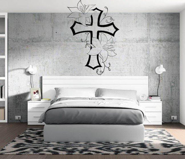 Christian Cross Flowers Wall Decal Art Family Room Home Decor Sticker Mural DIY