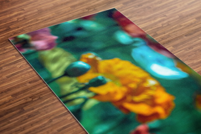 Flower Angelov Printed Yoga Mat Thick 5 mm 24 x 72 Pilates Rainbow Decor Rug Exercise Meditation