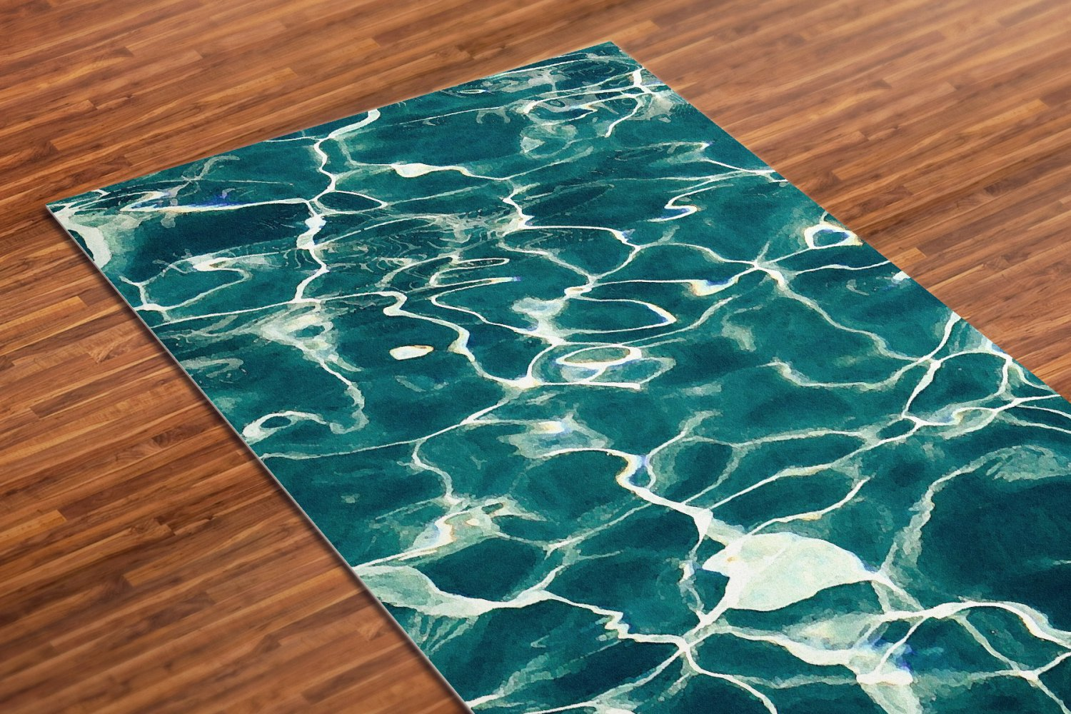 Water Printed Yoga Mat Thick 5 mm 24 x 72 Pilates Blue Decor Rug Gift Fitness Exercise Meditation