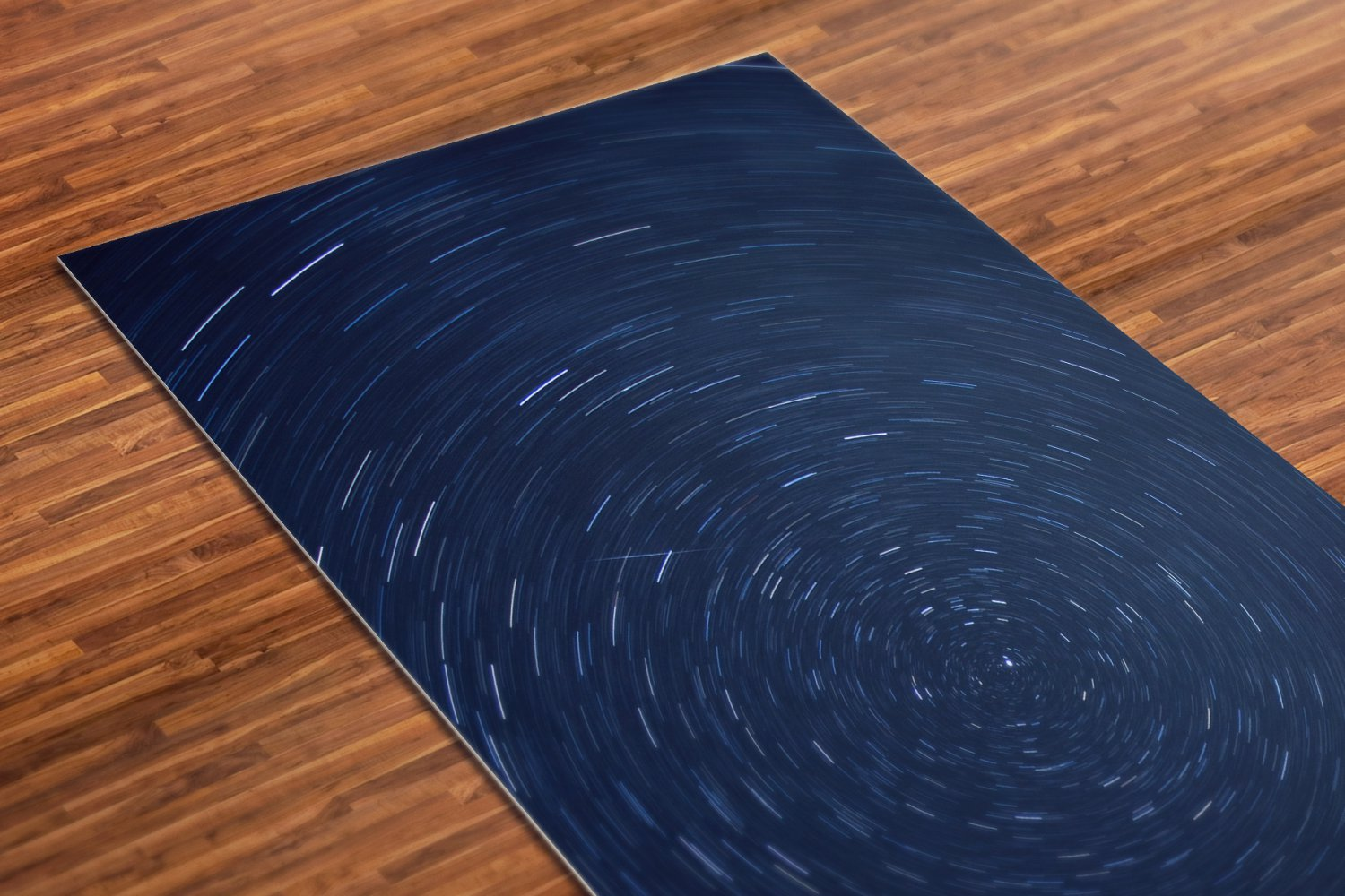 Stars Printed Yoga Mat Thick 5 mm 24 x 72 Pilates Blue Decor Rug Gift Fitness Exercise Meditation