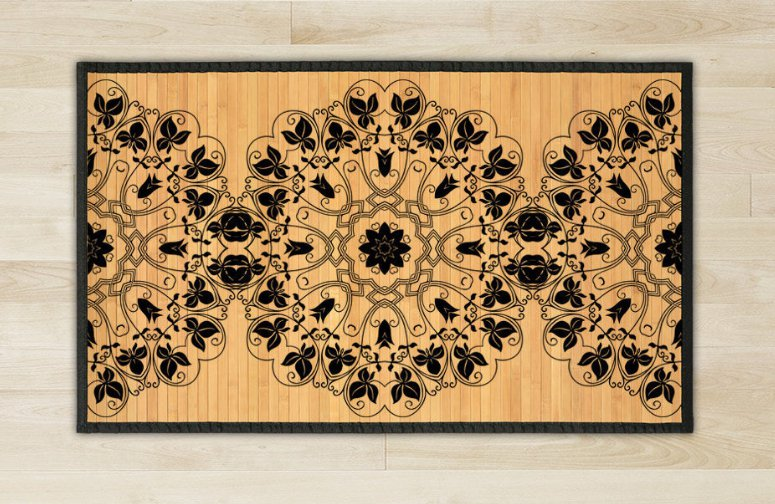 23.6X39.4 Mandala bamboo natural rug housewarming  brown mat room and meditation great gift idea
