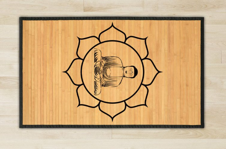 27.6X47.2 Buddha bamboo natural rug healthy standing play  brown for room and great gift meditation