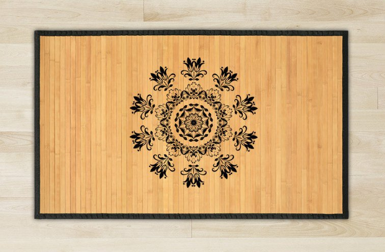47.2X70.9 flowers bamboo natural rug housewarming  brown mat bedroom great gift idea meditation rose