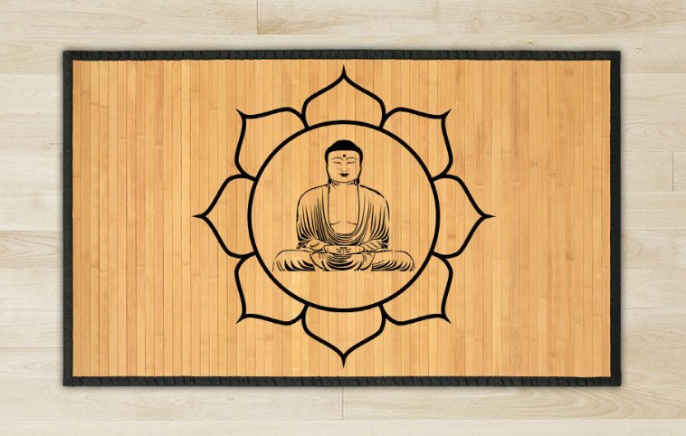 23.6X63 Buddha bamboo natural rug healthy standing  brown mat for bedroom and great gift meditation