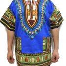 Unisex Dashiki Shirts African Top Vintage Hippie Cotton Blouse One Size Blue