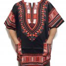Unisex Dashiki Shirts African Top Vintage Hippie Cotton Blouse One Size Black Red
