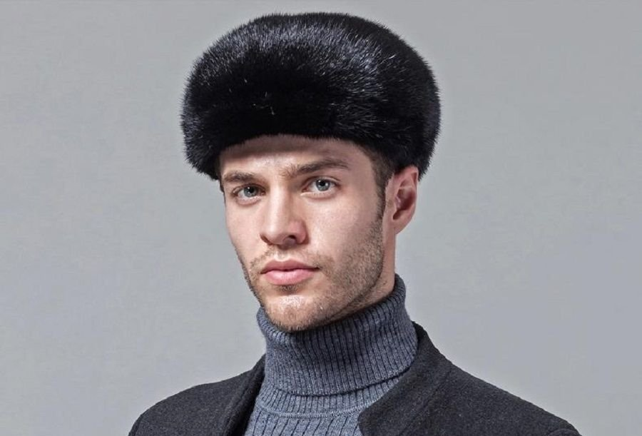 New Fashion Men's Mink Fur Winter Warm Hat / Cap Flat Hat Protect ears