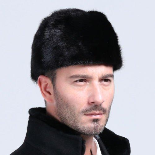 100% Genuine Mink Fur Cap Men's Winter Warm Top Hat Gentlman President Caps