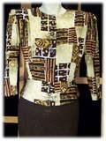 Vintage 80s Blouse with Peplum Gorgeous Fall Print M L B42