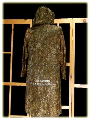 Vintage 60s Hooded Long Jacket Brush Stroke Leaves M L