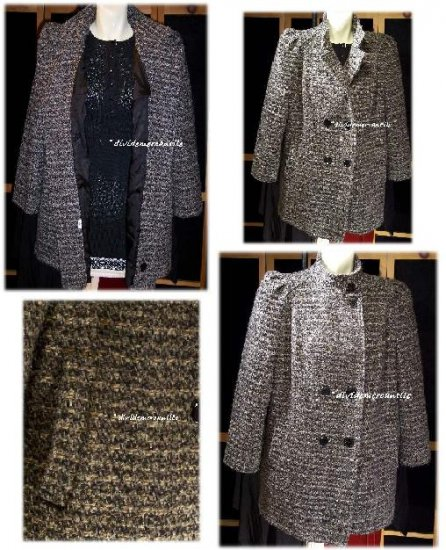 Vintage 80s Double Breasted Tweed Stroller Car Coat B46 XL 1X