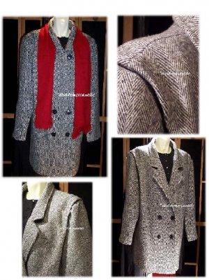 Vintage Dbl Breasted Herringbone Tweed Car Coat B58 XXL