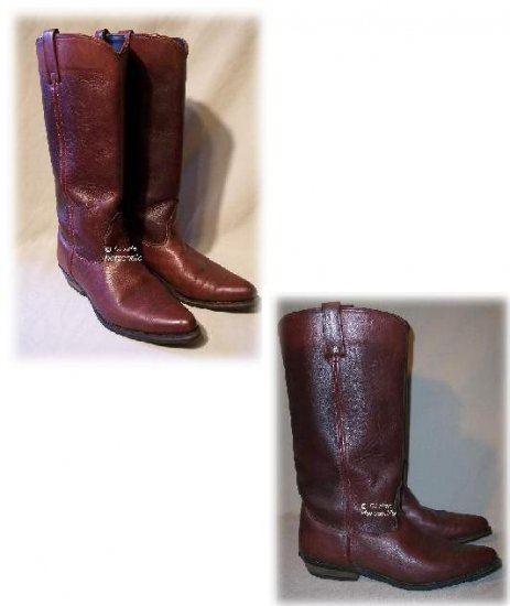 Vintage CAPEZIO Cowboy Boots Stacked Leather Heel 9.5