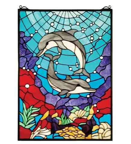 Meyda Tiffany Dolphin Dance Window