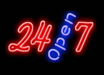 Open 24-7 Neon Business Sign