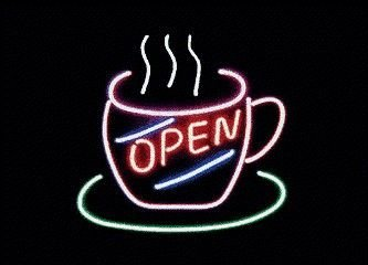 Coffee Cup Flowing Neon Sign