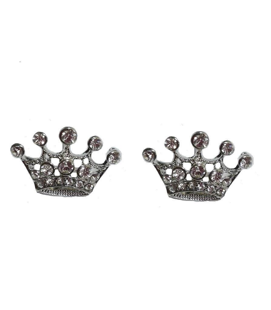 Crown Silver Tone Stud Earrings