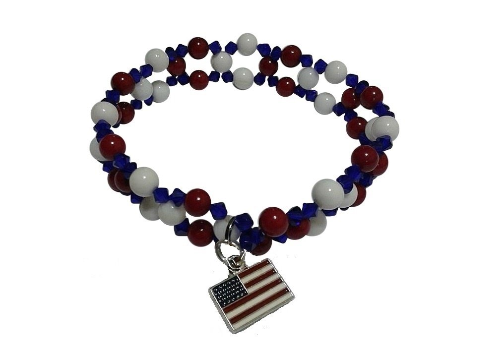 Patriotic Red, White and Blue Charm Bracelet, Size 8